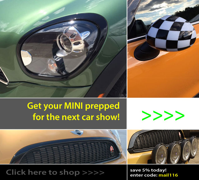 Blackout Grills, Headlight Rings, Tail Light Rings and more for your MINI Cooper