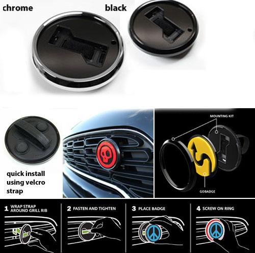 MINI Cooper Go Badge Grill Mount Badge Holder Accessory