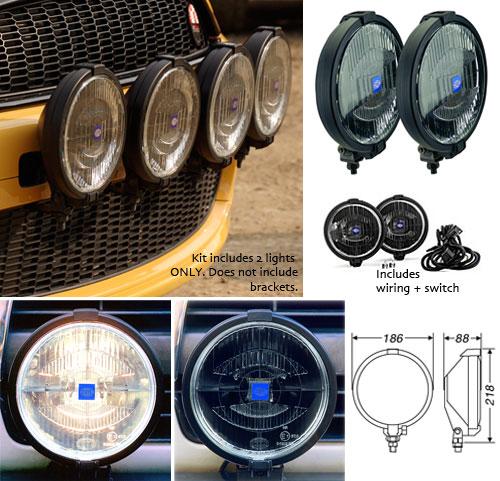 Mini Cooper Hella Rallye 1000 Black Driving Light Kit