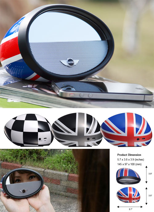 Bluetooth Speaker On Wheels >> MINI Boombox Mirror PF320 Union Jack, Checkered, Black Jack - MINI Cooper Accessories + MINI ...