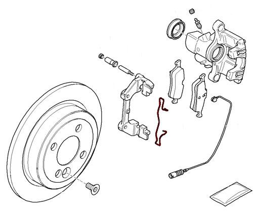 Mini Cooper Rear Brake Caliper Carrier Pad Spring Clip 34216762749