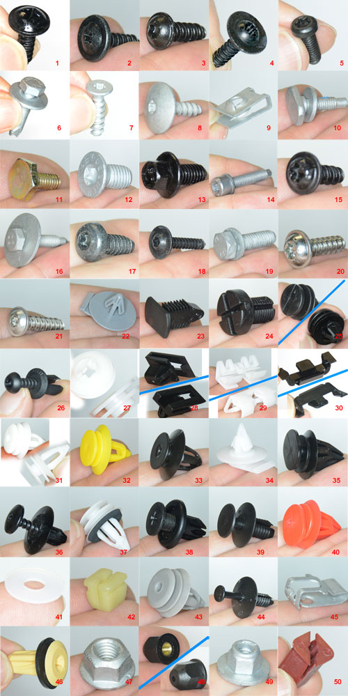 Replacement Snaps, Clips, Bolts, Screws, Rivets
