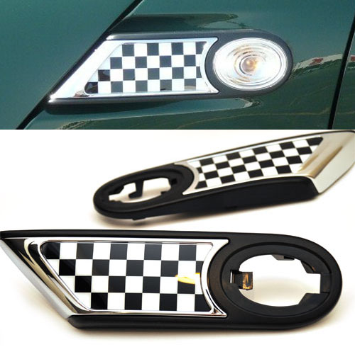 Checkered Flag Side Marker Housings for R55, R56, R57, R58, R59 MINI Coopers