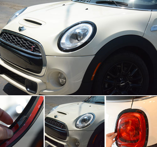 mini cooper f56 taillight headlight trim ring set gloss