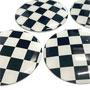 Wheel Center Cap Stickers: Checkered Flag Set of 4