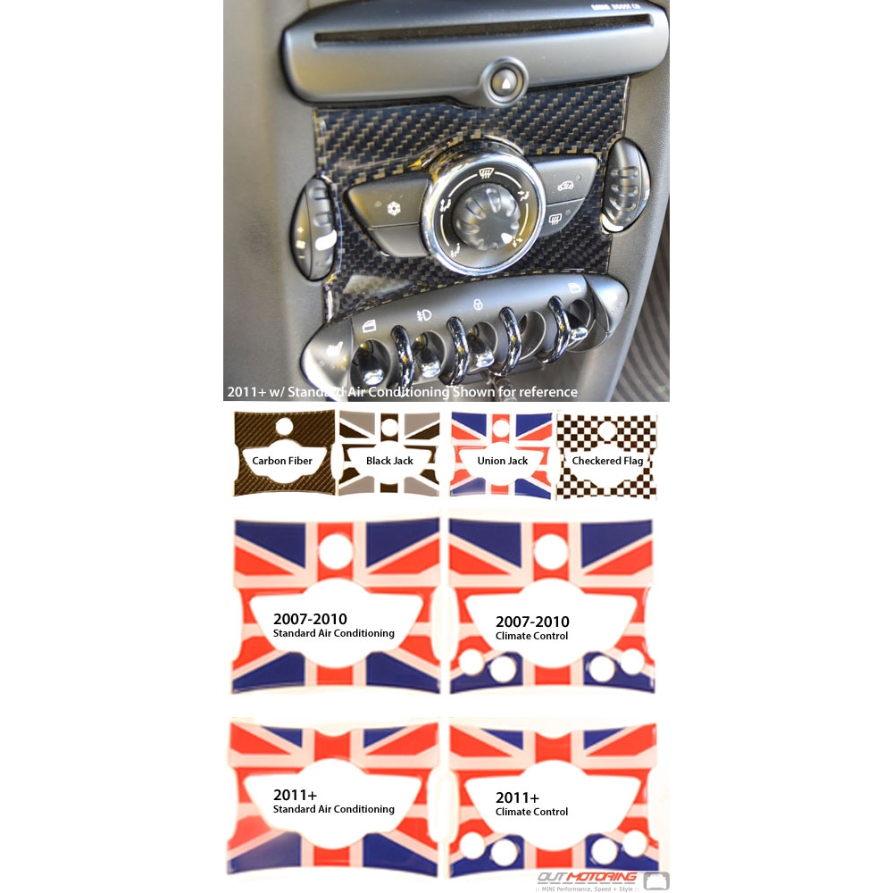 Black Terry Velour Console Cover fits 08-15 Mini Cooper Union Jack//Chckrd Flag