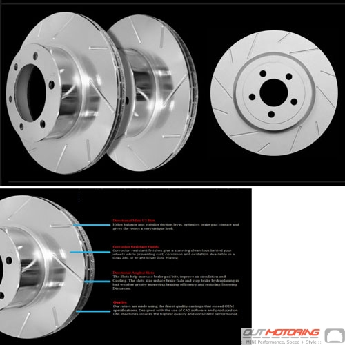 Brake Rotors: Slotted: Rear w/ Grey ZRC Coating