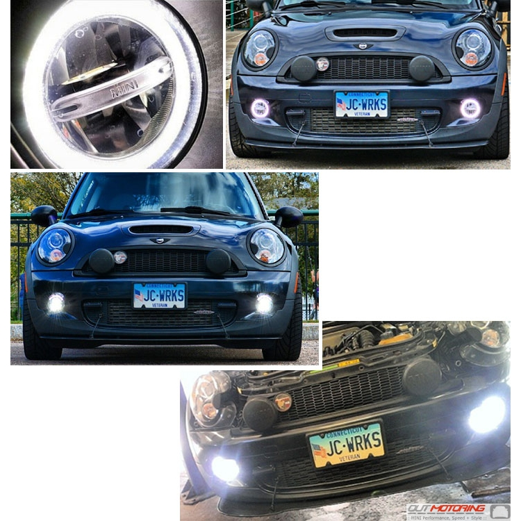 MIN_halo_drl_detail mini cooper factory oem led halo running front driving light kit  at bakdesigns.co