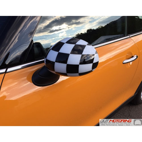 NEW OEM MINI Cooper Mirror Covers Pair for NON-POWERFOLD Checkered