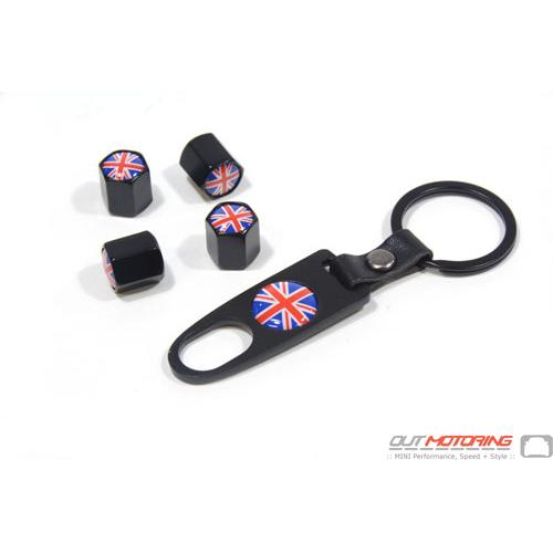 Valve Stem Covers + Key Ring: Union Jack: Black