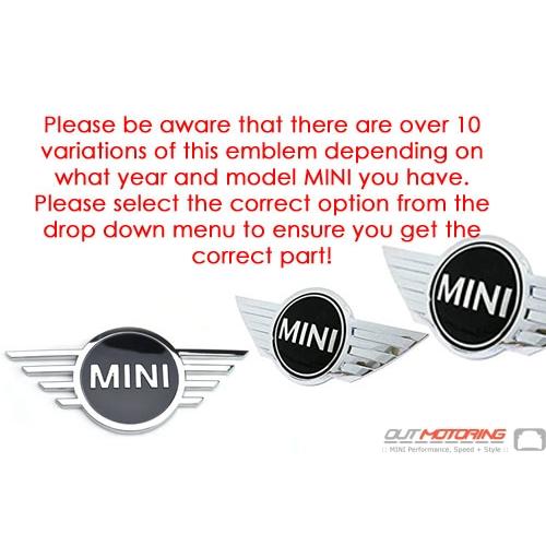 MINI Logo Badge Emblem: Rear