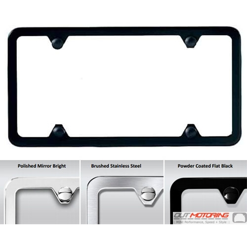 MINI Cooper Slimline Basic License Plate Frame Black Chrome Brushed ...