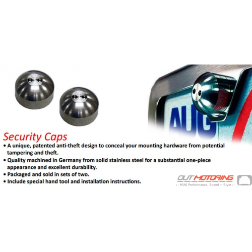 License Plate Hardware: Security Cap/Locking: Brushed Stainless