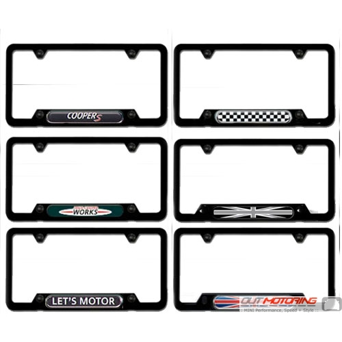 license plate frame black w accent click to expand - Mini Cooper License Plate Frame