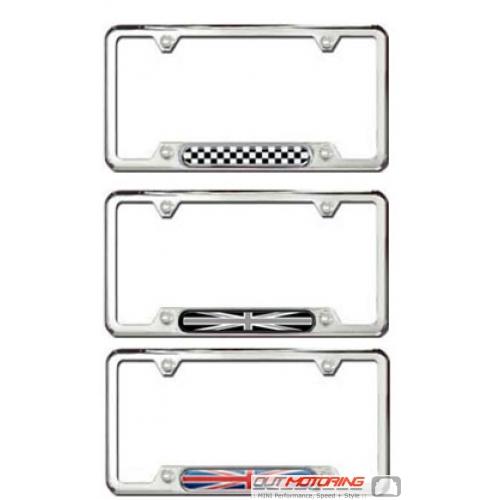 License Plate Frame: Brushed Stainless w/ Accent