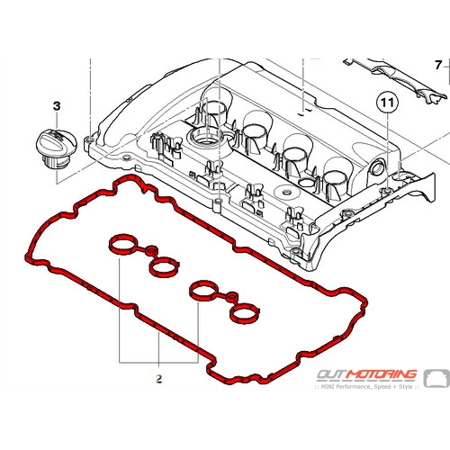 MINI Cooper S Valve Cover Gasket: N14 11127572851 - MINI