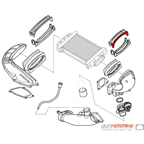 Intercooler Inlet Coupler Clamp: Left Upper