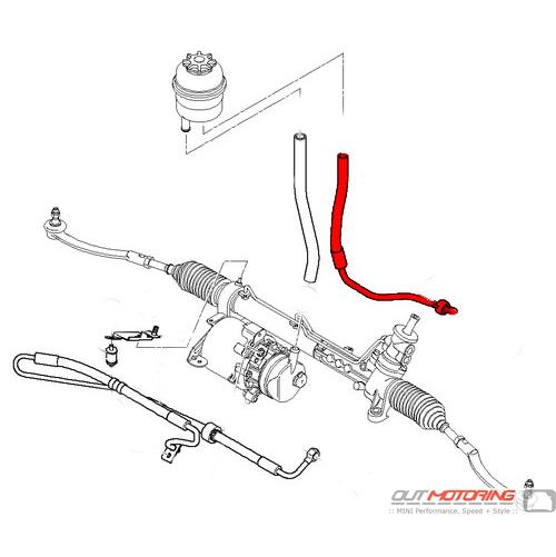 32416781744 Mini Cooper Power Steering Return Line Mini