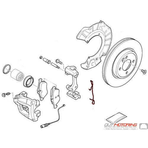 MINI Cooper Front Brake Caliper Carrier Pad Spring Clip 34111512715 - MINI  Cooper Accessories + MINI Cooper PartsOutMotoring