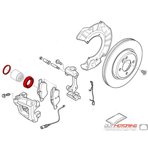 Brake Caliper Gasket Rebuild Kit: Front