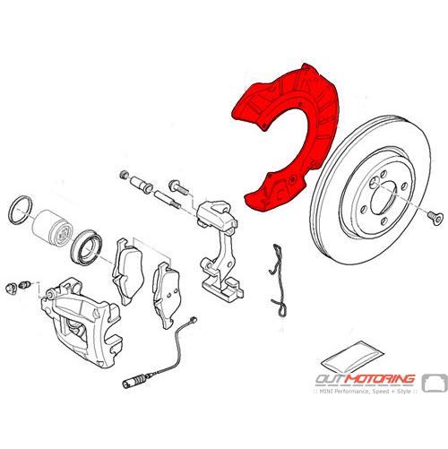 MINI Cooper Front Brake Caliper Dust Shield: Right: 34116754928 - MINI  Cooper Accessories + MINI Cooper PartsOutMotoring