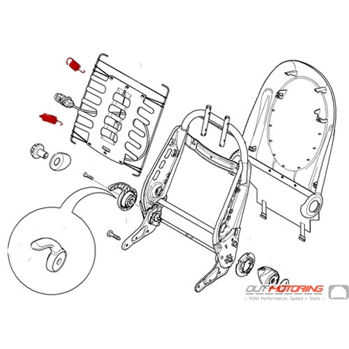 Mini Cooper R50 R52 R53 Replacement Seat Back Spring