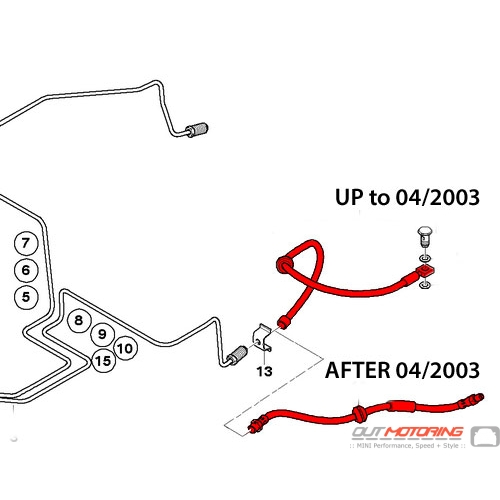 34306793611 34306760221 mini cooper brake line hose  r50 r52 r53