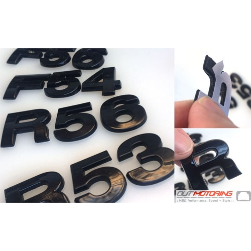 R Series/F Series Letter Badges: Black