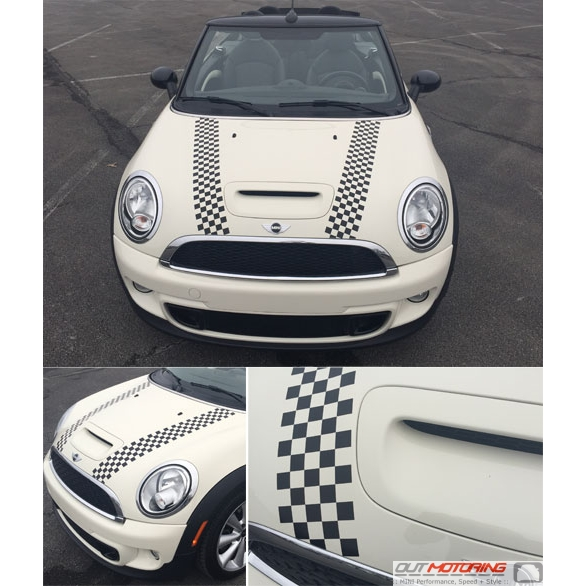 MINI Cooper Checkered Flag Hook Bonnet Racing Stripe Kit