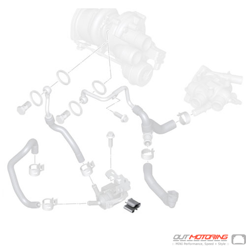 11787547315 mini cooper engine cooling auxiliary water pump clip r55 r56 r57 r58 r59 r60 r61