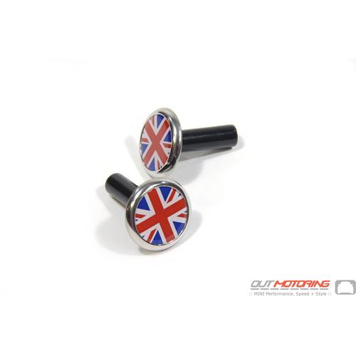Door Lock Pin Accent: Chrome w/ Union Jack