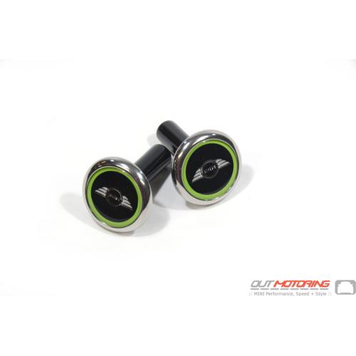 Door Lock Pin Accent: Chrome w/ Vivid Green