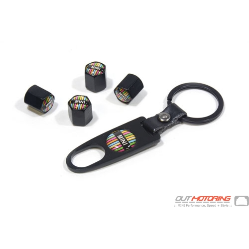 Valve Stem Covers + Key Ring: Paul Smith Style: Black