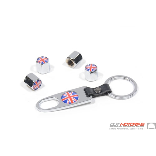Valve Stem Covers + Key Ring: Union Jack: Chrome