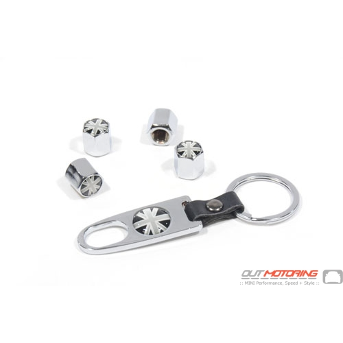 Valve Stem Covers + Key Ring: Black Jack: Chrome