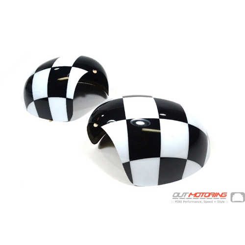 Side Mirror Covers: Gen2 Stick-on: PowerFold: Checkered Flag