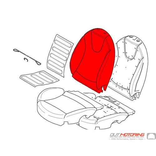 """Sports Backrest Cover: Right: """"Lounge"""" Leather: Redwood Red"""