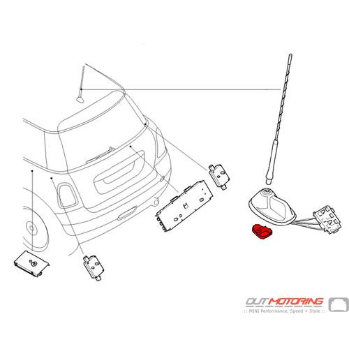 65203456141 Mini Cooper Replacement Antenna Base Holder Mini