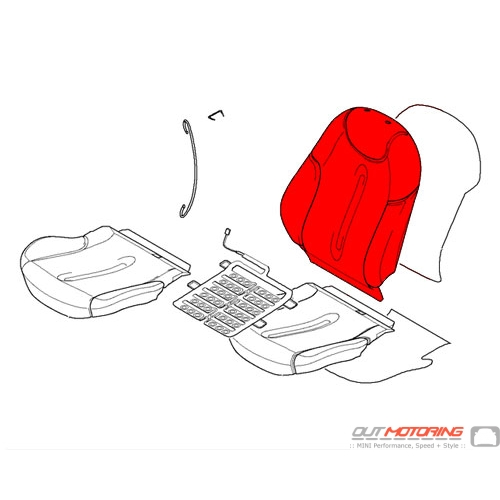 Backrest Cover: Sports: Leatherette: Silver: Front Right