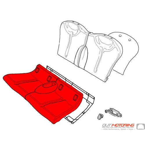 Seat Cover: Cloth/Leather: Blue: Rear