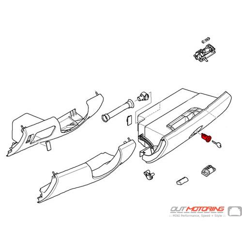 51167133603 mini cooper replacement glove box parts  lock w   key code