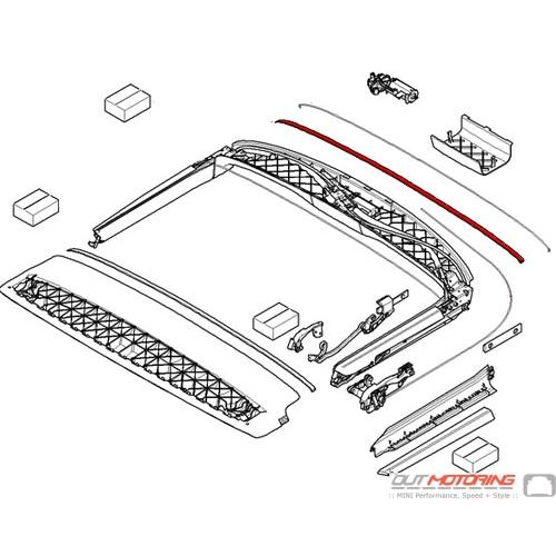 54347167328 mini cooper replacement convertible folding top felt strip silencer