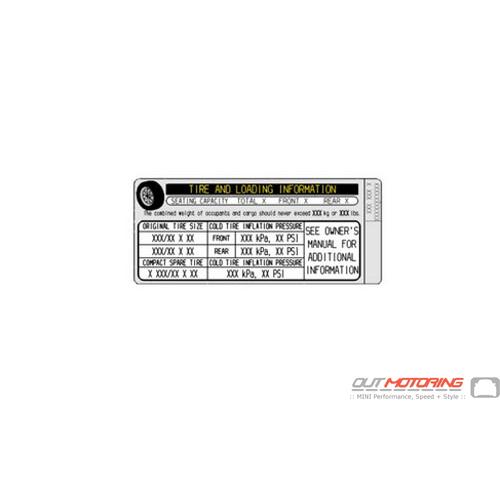 71246790874 Mini Cooper Tire Pressure Label Mini Cooper