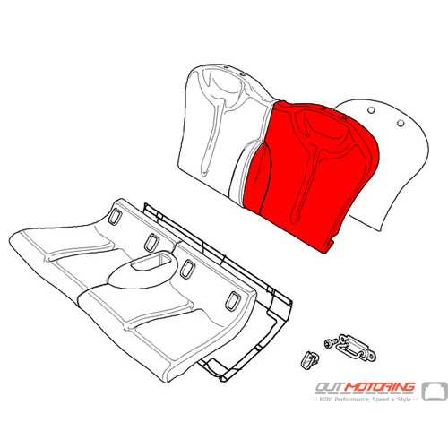 Backrest Cover: Cloth/Leather: Red: Rear Left