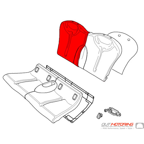 Backrest Cover: Cloth/Leather: Red: Rear Right