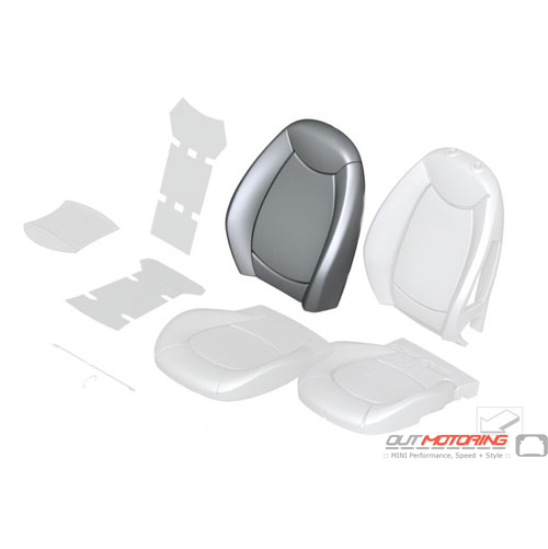 """Backrest Cover: """"Lounge"""" Leather: Carbon: Front: Heated: Right"""