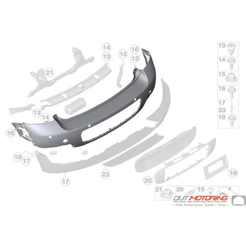 Rear Bumper: Trim Panel: Primered: PDC: Chromeline