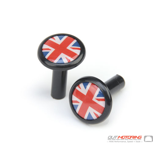 Door Lock Pin Accent: Black w/ Union Jack