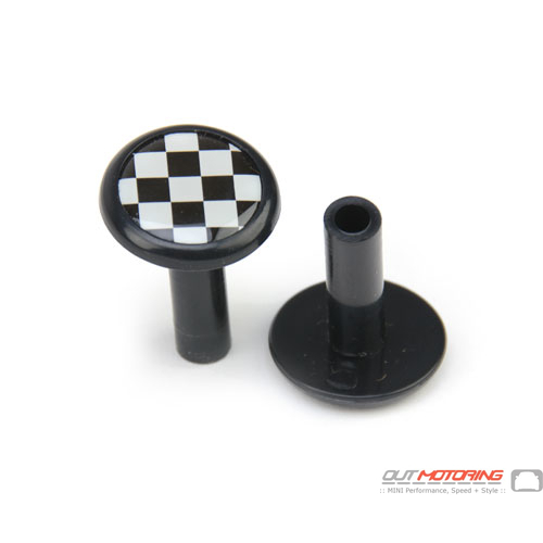 Door Lock Pin Accent: Black w/ Checkered Flag