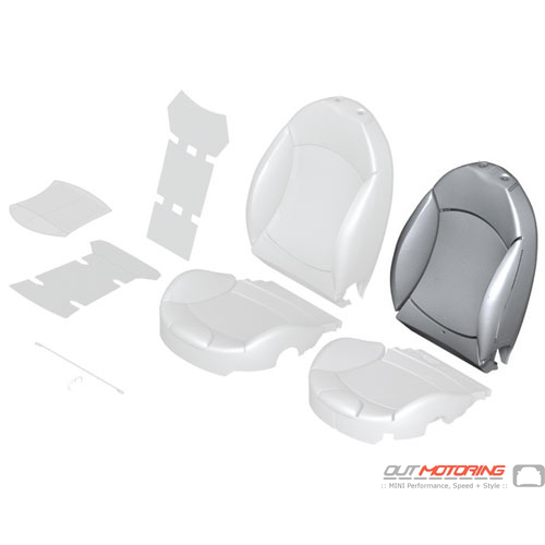 """Sports Seat Cover: Left: Soda Leather: """"Lounge"""" Satellite Grey"""